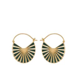 Flare Green Earrings 30 mm forgylt - Pernille Corydon