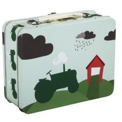 Blafre Koffertboks Traktor og låve grønn