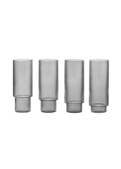 Ripple Long Drink Glasses (4 stk) Smoked Grey - ferm LIVING